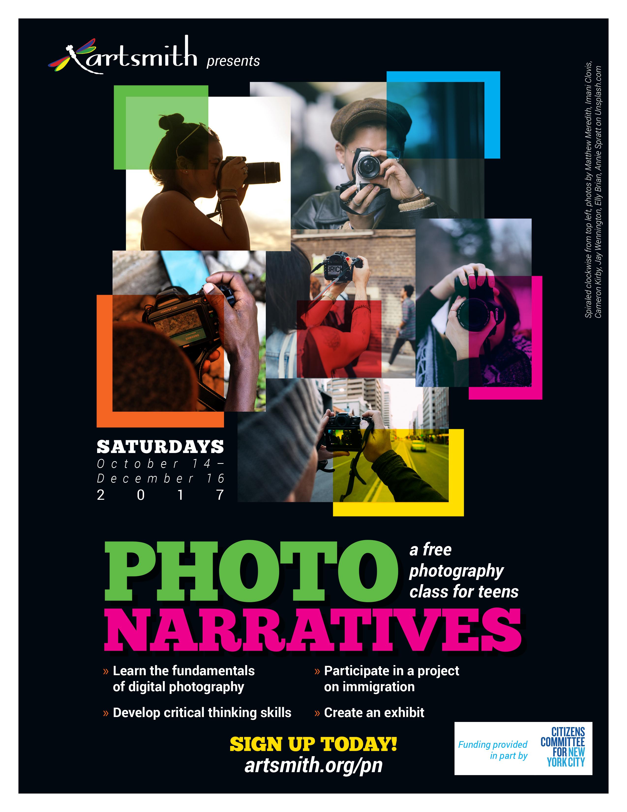 artsmith photo narratives flyer black
