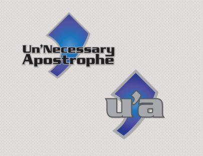 Un'Necessary Apostrophe logo 2 versions